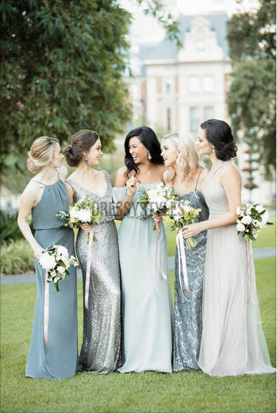 Mismatched Chiffion Floor Length Elegant Long Bridesmaid Dresses, MD484