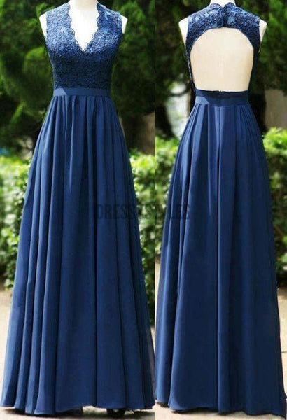 Simple V Neck A Line Backless Lace Top Floor Length Long Prom Dresses, MD386