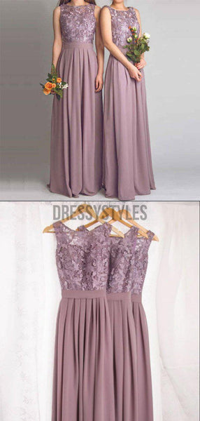 Dusty Purple Lace Chiffon Sleeveless Long Bridesmaid Dresses, BW0615