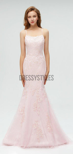 Elegant Spaghetti Strap Pink Lace Applique Mermaid Long Prom Dresses,MD601