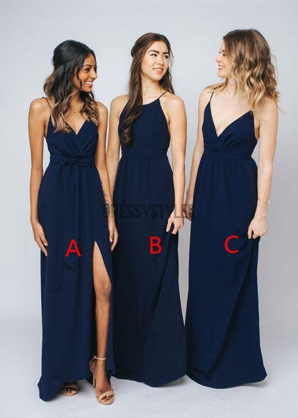 Mismatched Navy Blue Simple Floor Length Chiffon Long Bridesmaid Dresses, MD483