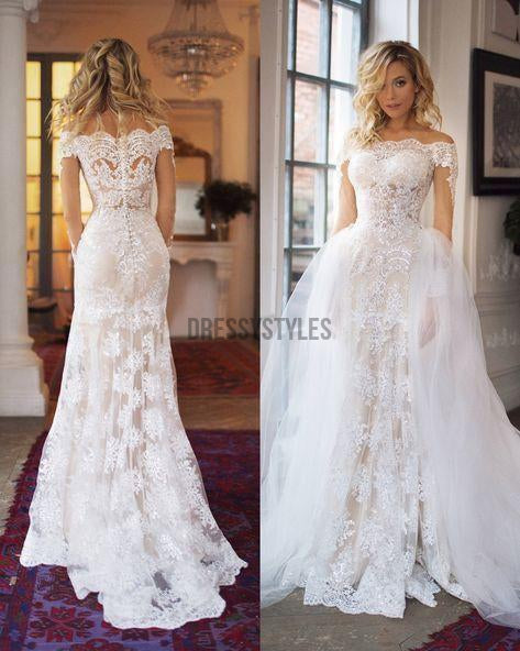 c592d71788ac Gorgeous Off the Shoulder Long Sleeves Sweep Trailing Long Wedding Dresses,  MD442