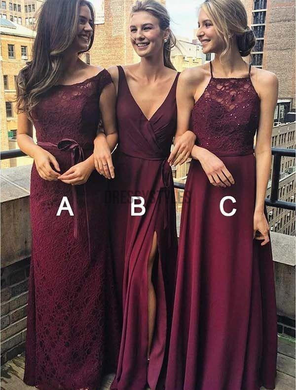 Burgundy Charming A/B/C Pattern Bridesmaid Dresses,Long Bridesmaid Dresses,DPB155