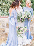 Blue Lace Long Sleeve Bridesmaid Dresses, Wedding Party Dresses, MD576