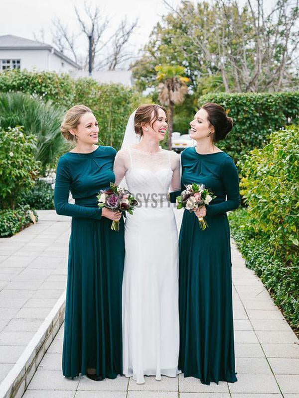 Simple Green Round Neck Long Sleeves A Line Long Bridesmaid Dresses, MD497