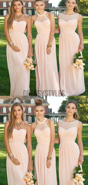 Simple Light Pink Different Styles Chiffon Long Bridesmaid Dresses ,MD338