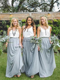 Cheap Two Pieces Chiffon V Neck Different Long Bridesmaid Dresses ,MD340