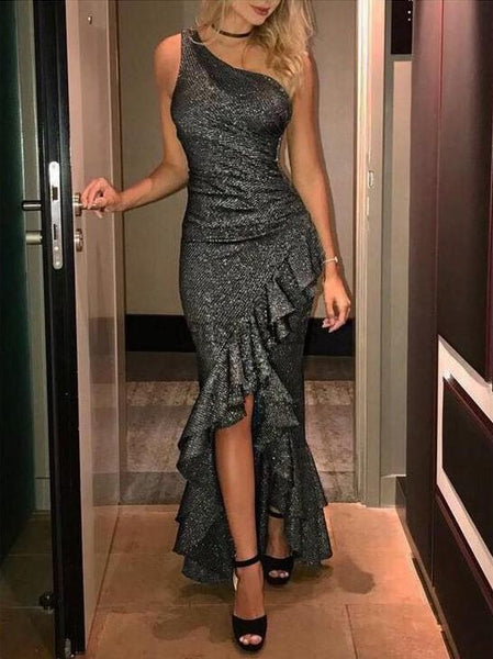 Fashion One Shoulder Sleeveles Short Long Mermaid Sequin Long Prom Dresses, MD403