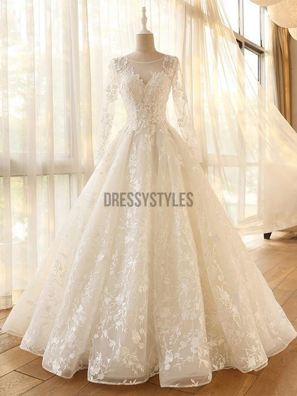 Pretty A Line Long Sleeves Floor Length Lace Applique Tulle Long Wedding Dresses, MD444