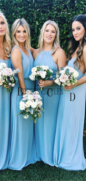 Mismatched Pretty A Line Chiffon Floor Length Long Bridesmaid Dresses, MD526