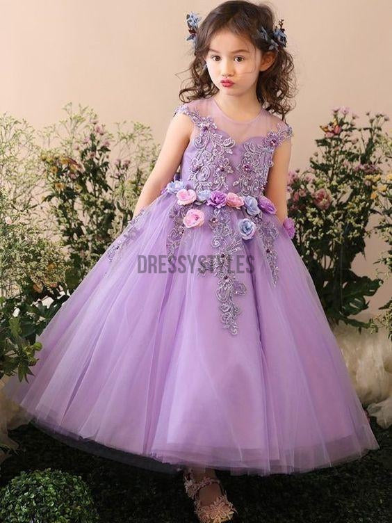 23cea22b0 Cute Handmade A Line Applique Tulle Long Flower Girl Dresses , GTE2128