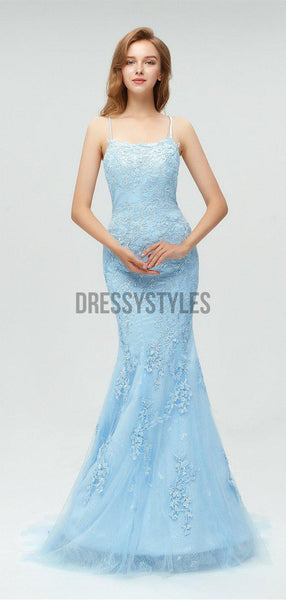 Discount Spaghetti Strap Light Blue Lace Applique Mermaid Long Prom Dresses, MD605