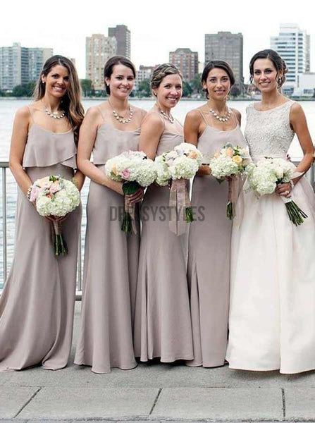 Cheap Spaghetti Strap Simple Floor Length Chiffon Long Bridesmaid Dresses, MD511
