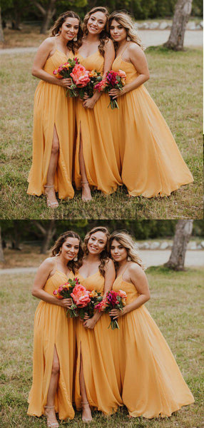 Simple Spaghetti Strap A Line V Neck Side Slit Chiffon Long Bridesmaid Dresses, MD463