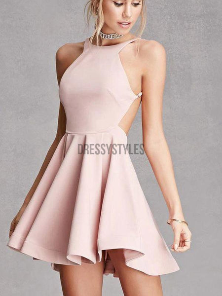 Simple Backless Pink Sexy Halter A Line Mini Short Homecoming Dress, BTW155