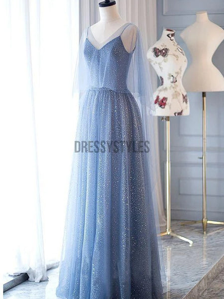 A-Line Spaghetti Straps Floor-Length Dark Blue Prom Dress with Beading ,MD337