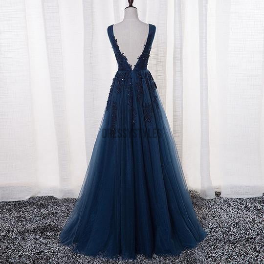 Fashion A-Line V Neck Long Tulle Prom Dresses Lace Evening Dress, MD314