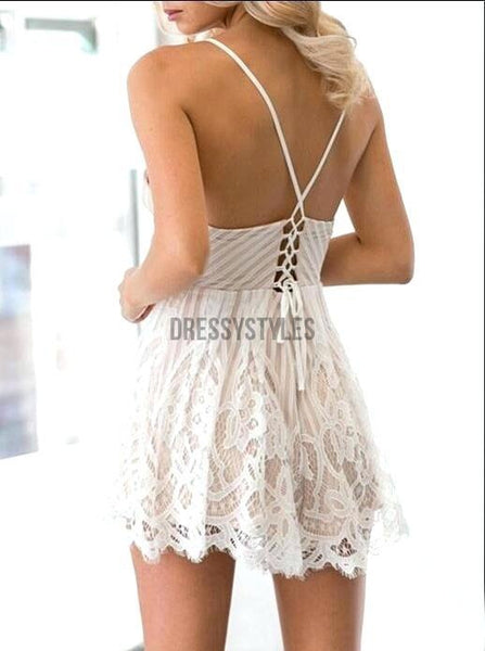 Sexy Spaghetti Strap V Neck Lace A Line Short Homecoming Dress, BTW213