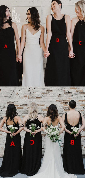 Black Mismatched Bridesmaid Dresses, Wedding Party Dresses, MD588