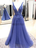Sexy A-line Deep V-neck Sleeveless Lace Tulle Long Prom Dress, MD307