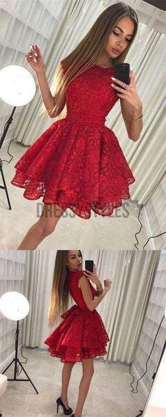 Elagant Round Neck Cheap Red Lace A Line Short Homecoming Dress, BTW150
