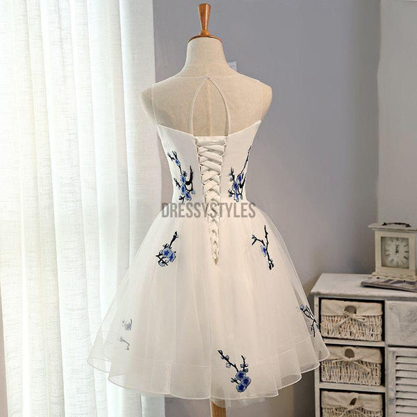 Elegant Applique Lace Up Tulle A Line Short Homecoming Dress, BTW154