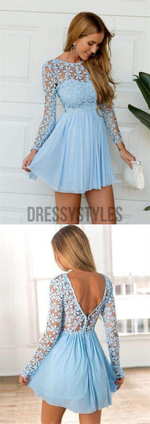 Pretty Scoop Long Sleeves Open Back Chiffon Short Homecoming Dress, BTW160