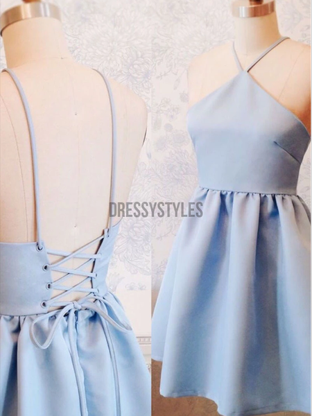 Simple Halter Light Blue Lace Up Satin A Line Short Homecoming Dress, BTW196