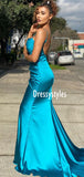 Simple Spaghetti Strap Mermaid With Train Long Prom Dresses, DPB170