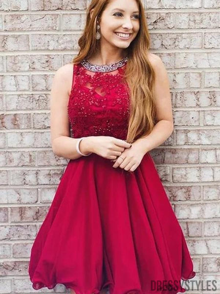 Charming Red Lace Top A-Line Homecoming Dresses, BTW301