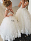 Custom Round Neck Open Back Lace Ball Gown Flower Girl Dresses,GTE2131