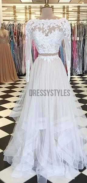 2 Pieces Lace Full Sleeves Floor Length White Prom Dresses, MD303