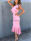Simple Round Neck Open Back Mermaid With Ruffle Short Homecoming Dress, BTW203