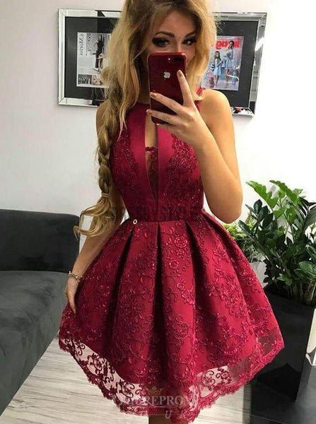 Sexy Halter Sleeveless Satin A Line Lace Applique Short Homecoming Dress, BTW193