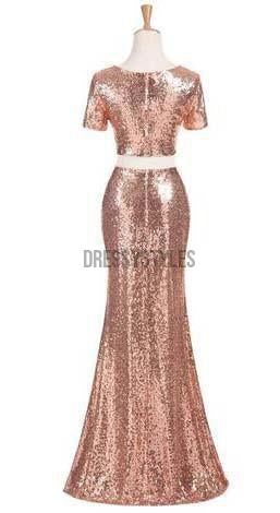 2 Pieces Short Sleeves Mermaid Sequin Cheap Long Bridesmaid Dresses, MD304