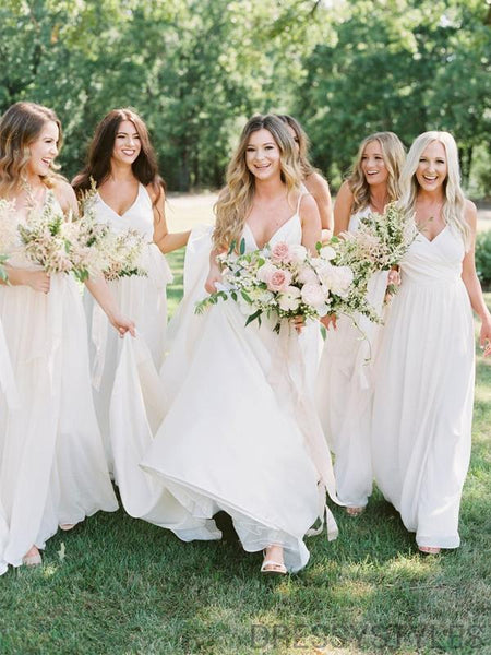 Simple White Spaghetti Straps Bridesmaid Dresses, Wedding Party Dresses, MD556