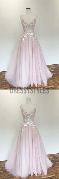 Light Pink V-neck Tulle Applique Long Prom Dress,Pink Evening Dress ,MD308