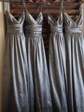 Comfy Spaghetti Straps A-Line Satin Bridesmaid Dresses, Wedding Party Dresses, MD559