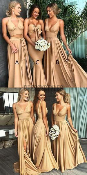 Mismatched Side Slit  Floor Length A Line Long Bridesmaid Dresses, MD486