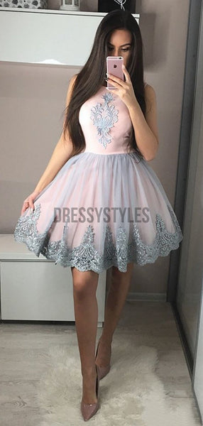 Cute A Line Round Neck Lace Applique A Line Short Homecoming Dress, BTW184
