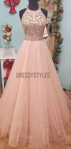 Charming High Neck Pink Beaded Lace Prom Dress, MD305