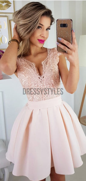 Newest Deep V Neck Lace Top Satin A Line Short Homecoming Dress, BTW189