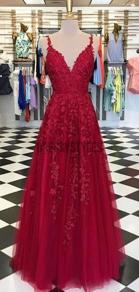 A-line sleeveless Floor-length Lace Dark Red Prom Dresses, MD321