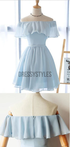 Simple Off The Shoulder Light Blue Chiffon A Line Short Homecoming Dress, BTW195