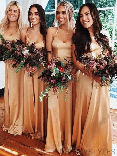 Alluring Spaghetti Straps A-Line Bridesmaid Dresses, Wedding Party Dresses, MD565