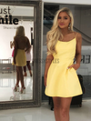 Simple Yellow Spaghetti Strap Lace Up Mini Short Homecoming Dress, BTW183