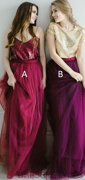 Alluring Mismatched Top Sequin A-Line Tulle Bridesmaid Dresses, MD535