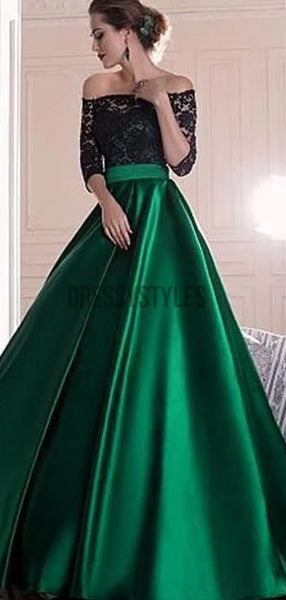 Black Lace Off-the-shoulder Half Sleeves Green Satin A-line Prom Dress DPB149