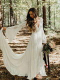 Boho Style V-Neck Lace Wedding Dresses, WD1140