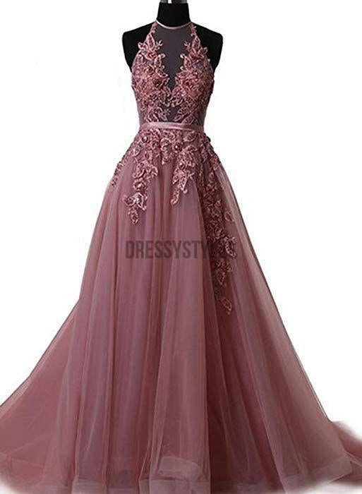 f56f4a6b40e Beautiful A-line Tulle Lace Halter Sleeveless Prom Dress
